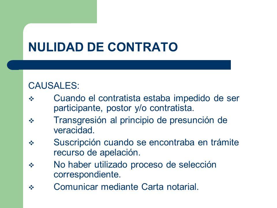 NULIDAD DE CONTRATO CAUSALES: