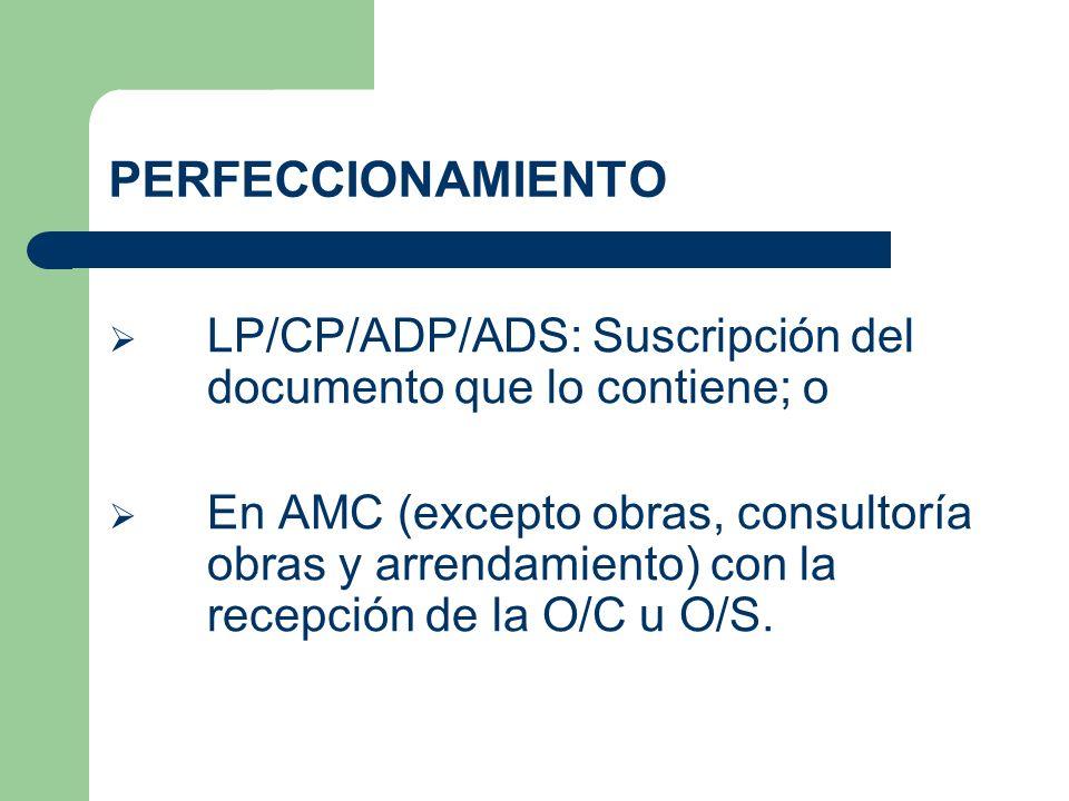 PERFECCIONAMIENTO LP/CP/ADP/ADS: Suscripción del documento que lo contiene; o.