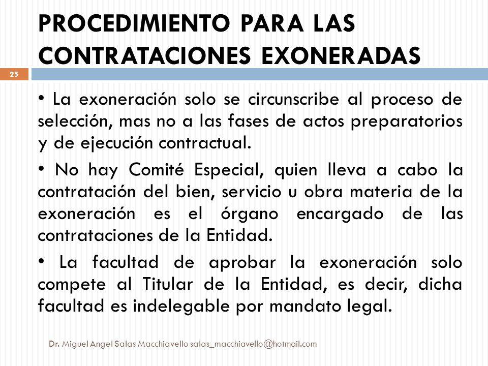 PROCEDIMIENTO PARA LAS CONTRATACIONES EXONERADAS