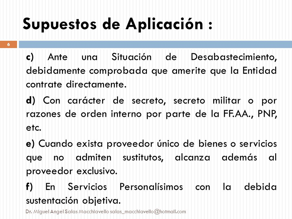Supuestos de Aplicación :