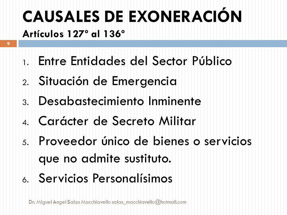 CAUSALES DE EXONERACIÓN Artículos 127º al 136º