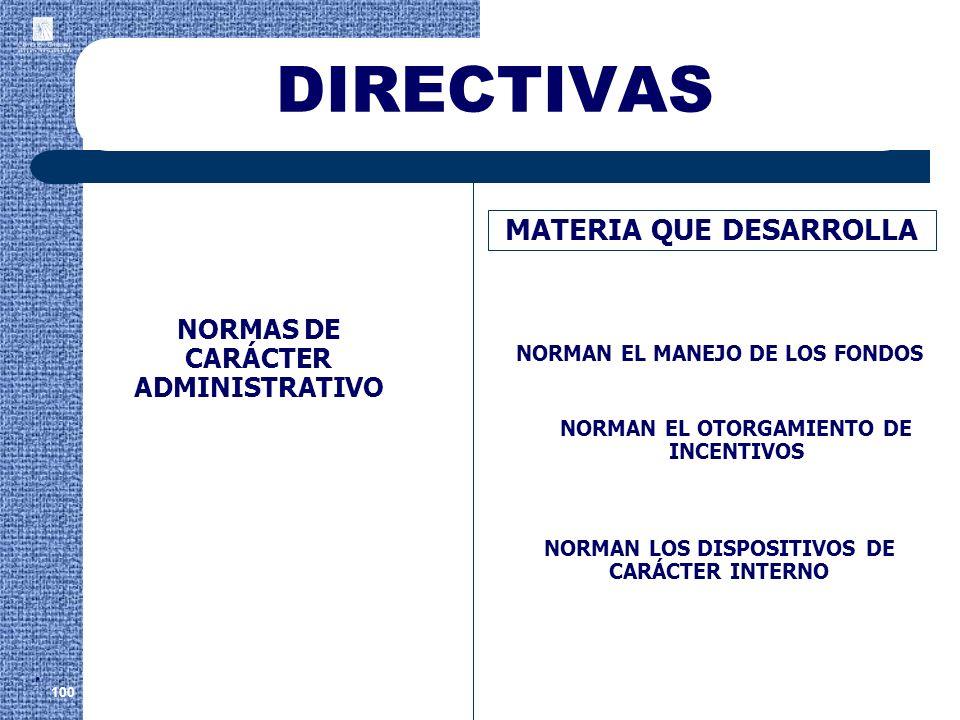 DIRECTIVAS . MATERIA QUE DESARROLLA NORMAS DE CARÁCTER ADMINISTRATIVO