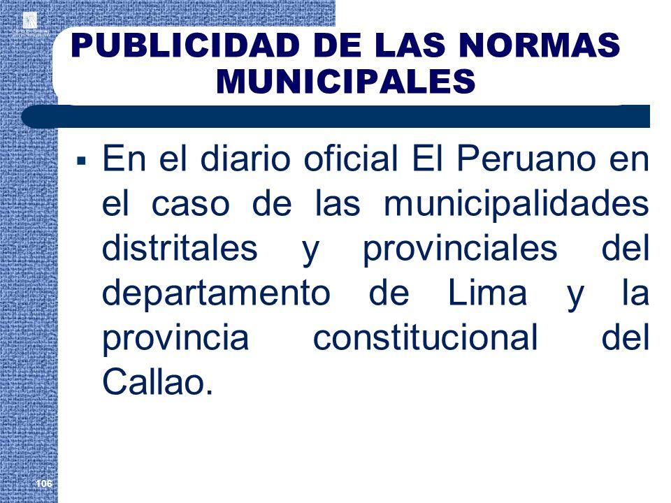 PUBLICIDAD DE LAS NORMAS MUNICIPALES