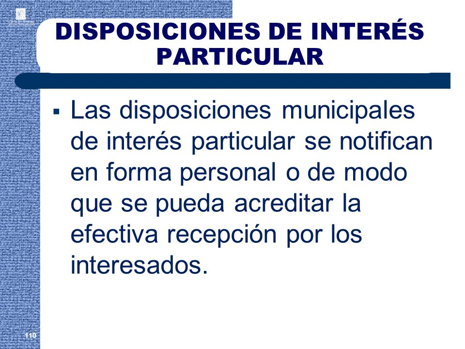 DISPOSICIONES DE INTERÉS PARTICULAR