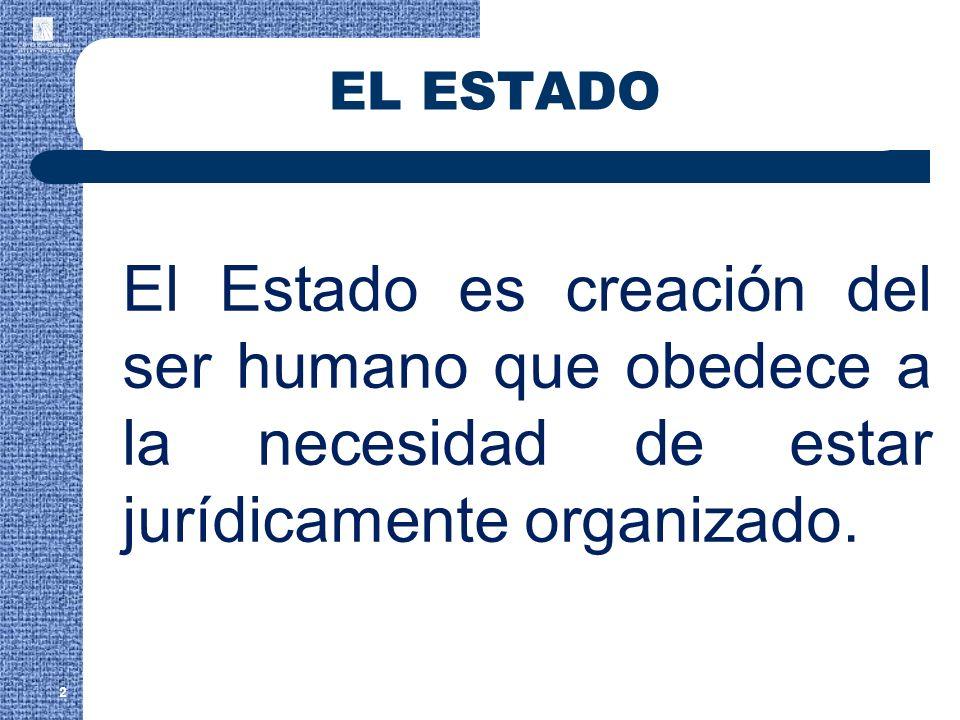 EL ESTADO El Estado es creación del ser humano que obedece a la necesidad de estar jurídicamente organizado.