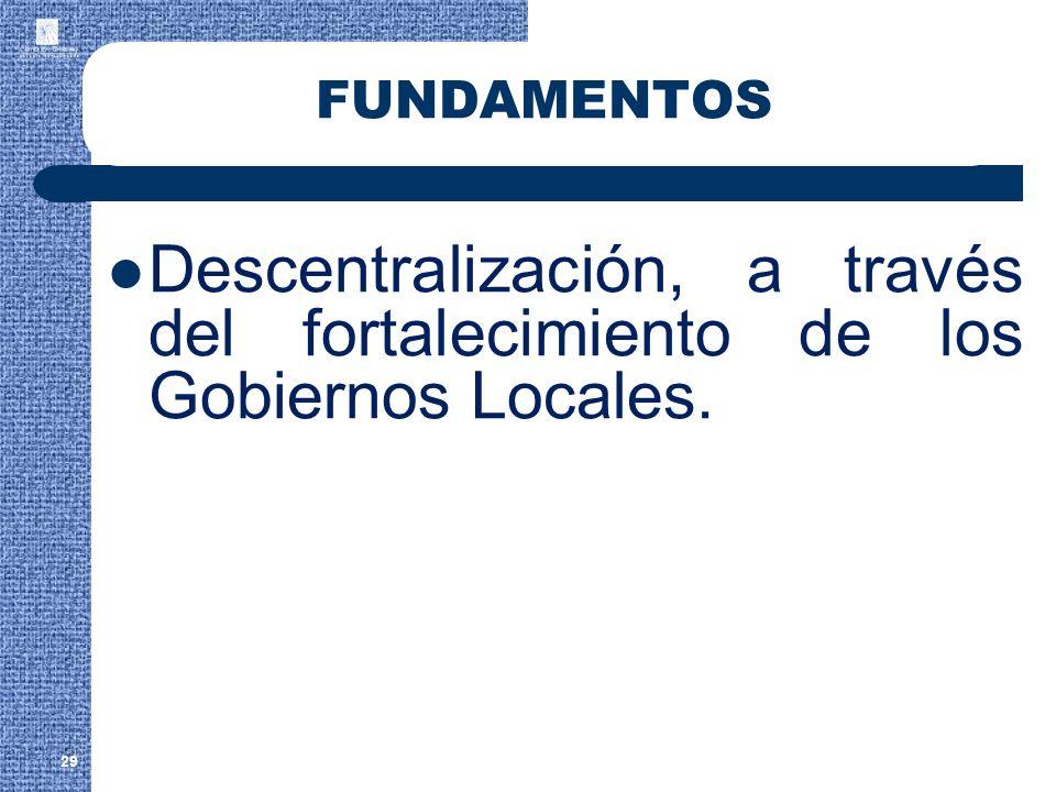 FUNDAMENTOS Descentralización, a través del fortalecimiento de los Gobiernos Locales.