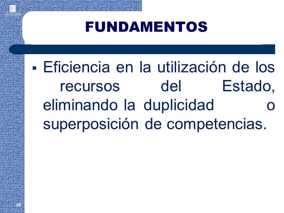 FUNDAMENTOS Eficiencia en la utilización de los recursos del Estado, eliminando la duplicidad o superposición de competencias.