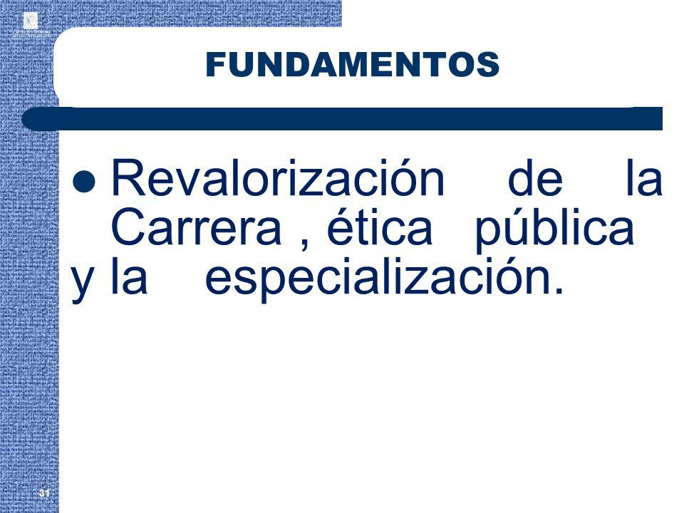 Revalorización de la Carrera , ética pública y la especialización.