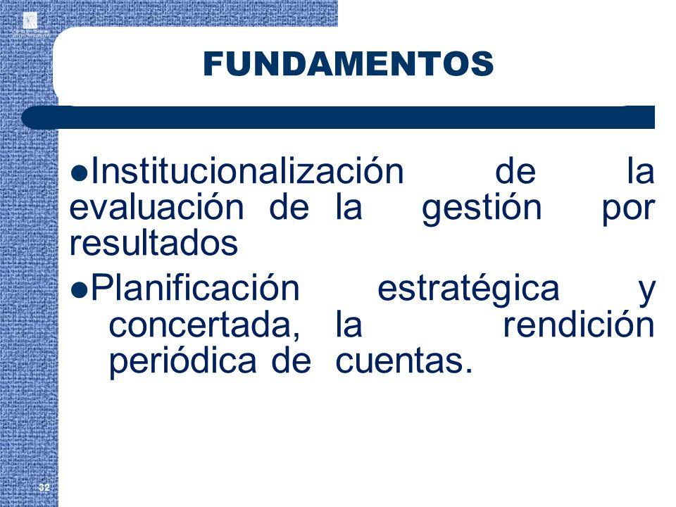 Institucionalización de la evaluación de la gestión por resultados