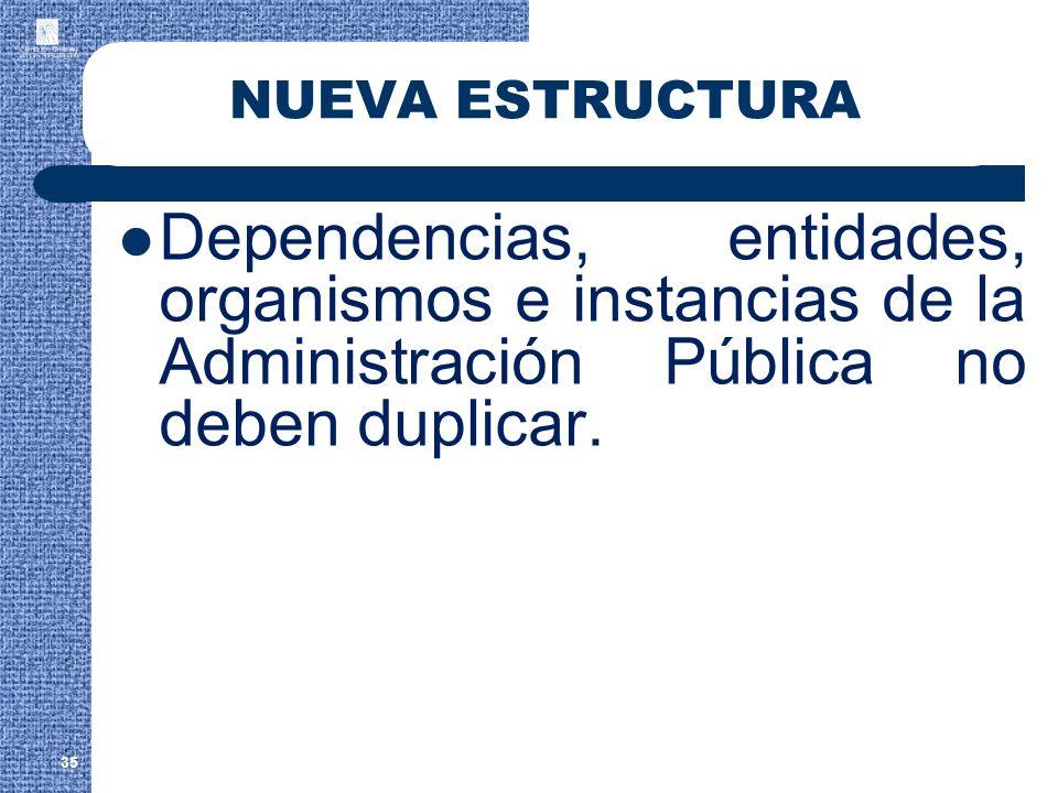 NUEVA ESTRUCTURA Dependencias, entidades, organismos e instancias de la Administración Pública no deben duplicar.