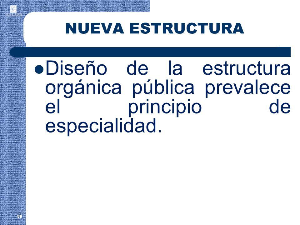NUEVA ESTRUCTURA Diseño de la estructura orgánica pública prevalece el principio de especialidad.