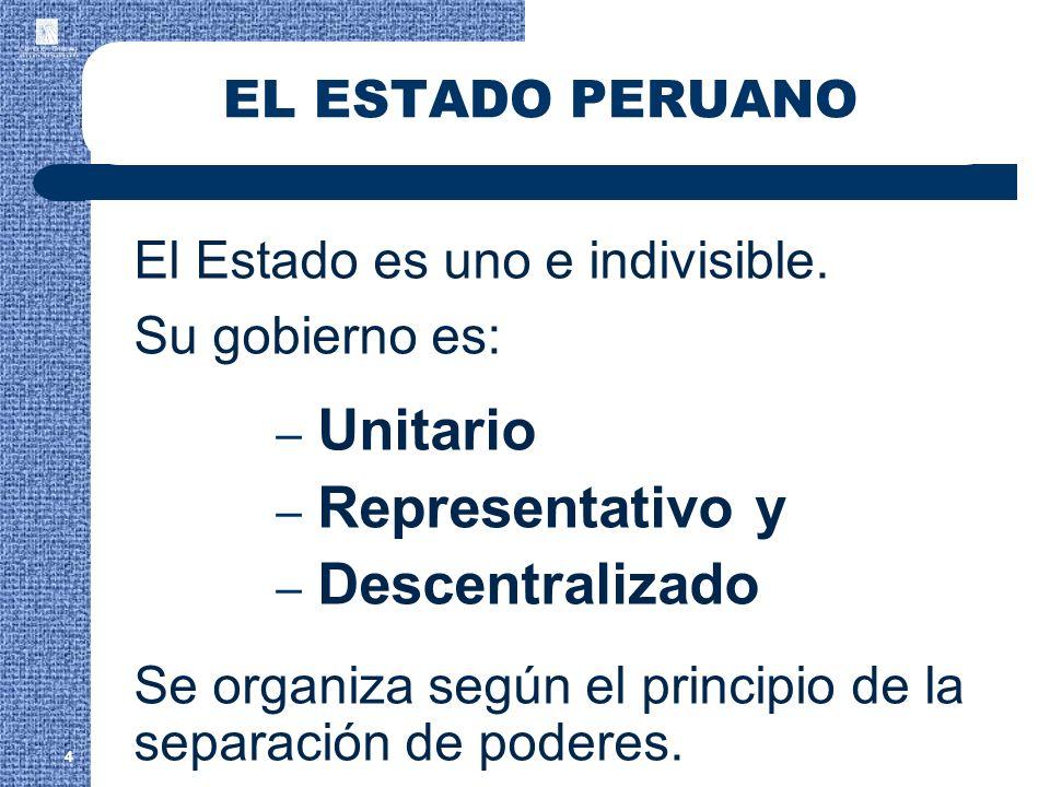 Unitario Representativo y Descentralizado EL ESTADO PERUANO