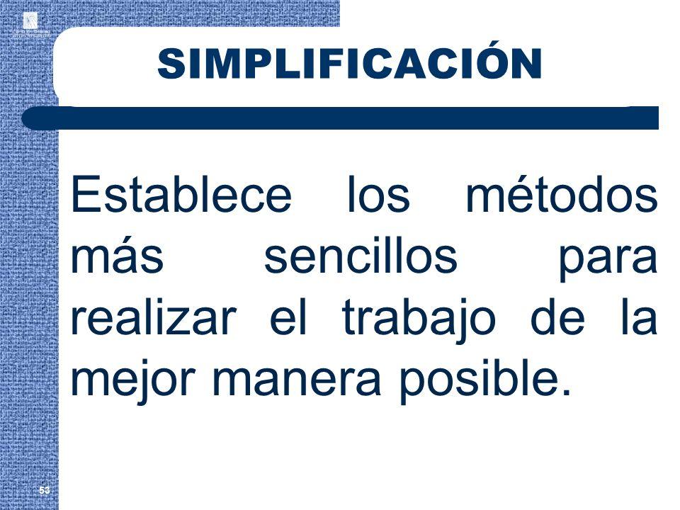 SIMPLIFICACIÓN Establece los métodos más sencillos para realizar el trabajo de la mejor manera posible.