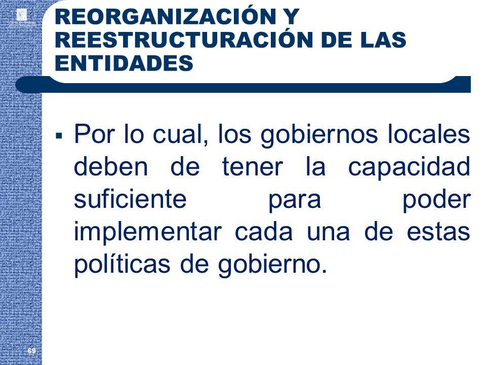 REORGANIZACIÓN Y REESTRUCTURACIÓN DE LAS ENTIDADES