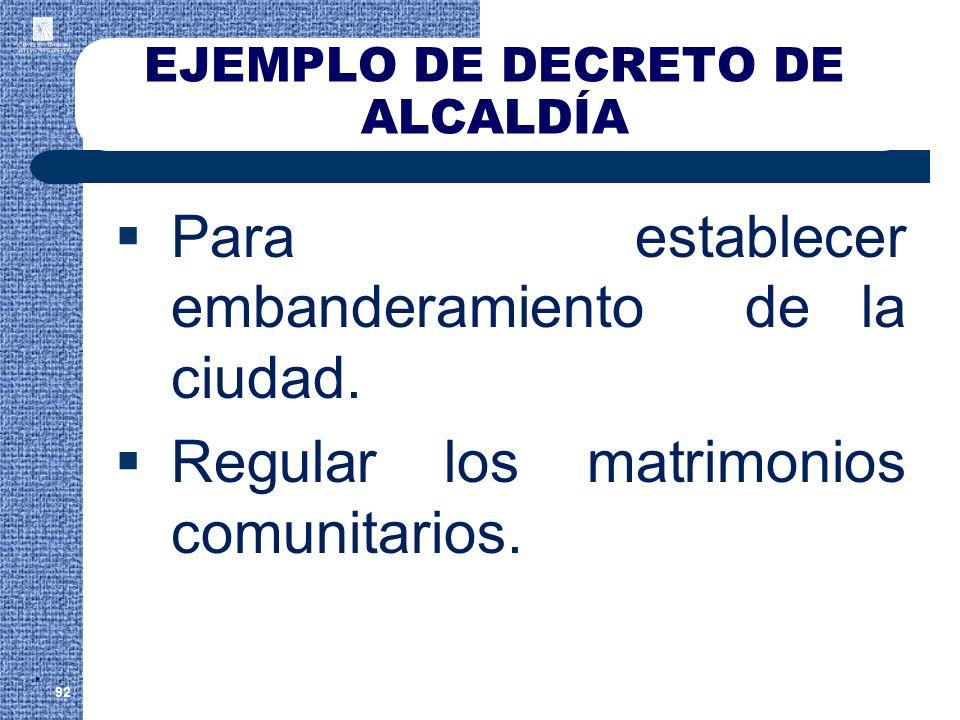 EJEMPLO DE DECRETO DE ALCALDÍA