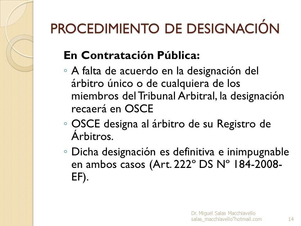 PROCEDIMIENTO DE DESIGNACIÓN
