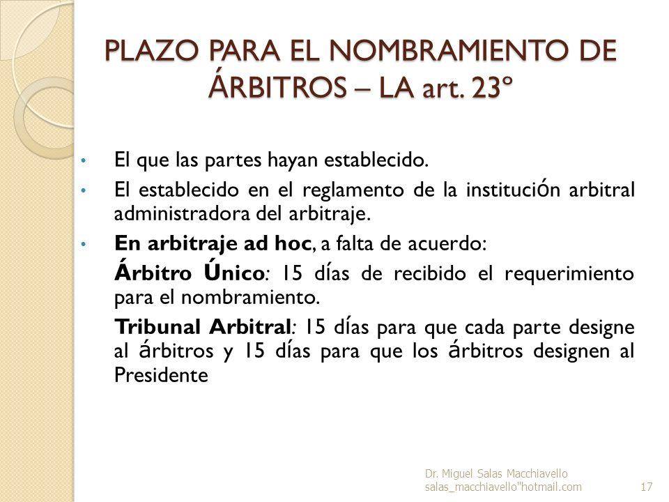 PLAZO PARA EL NOMBRAMIENTO DE ÁRBITROS – LA art. 23º