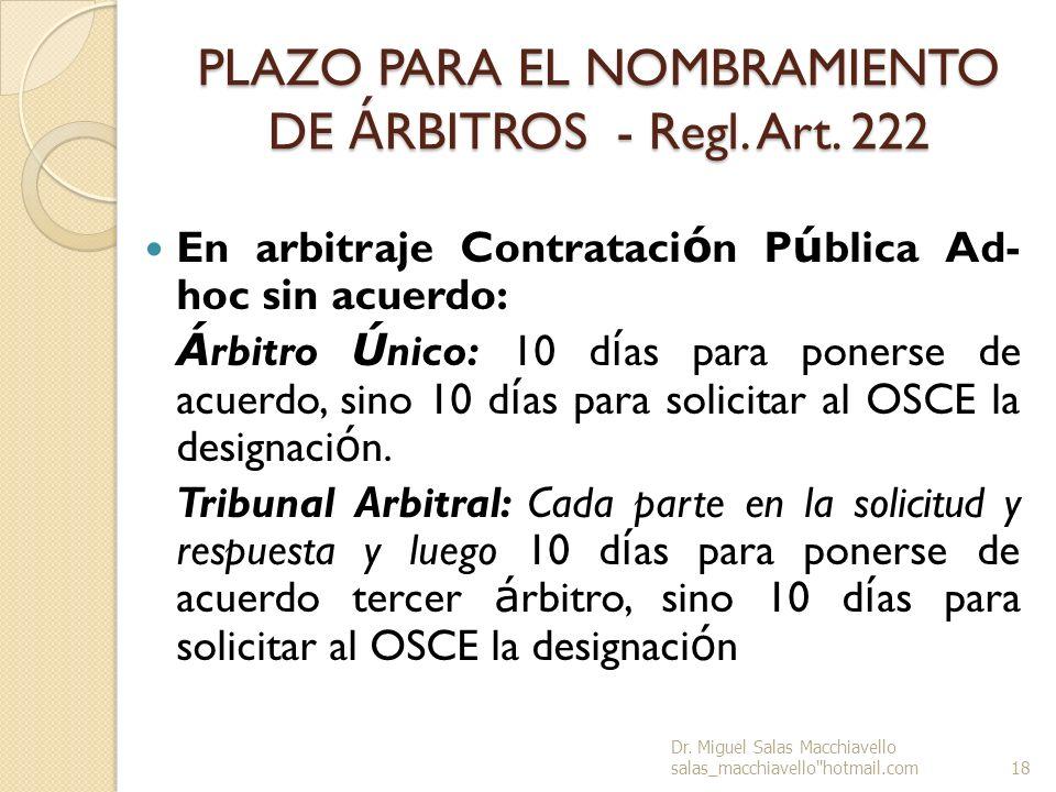 PLAZO PARA EL NOMBRAMIENTO DE ÁRBITROS - Regl. Art. 222