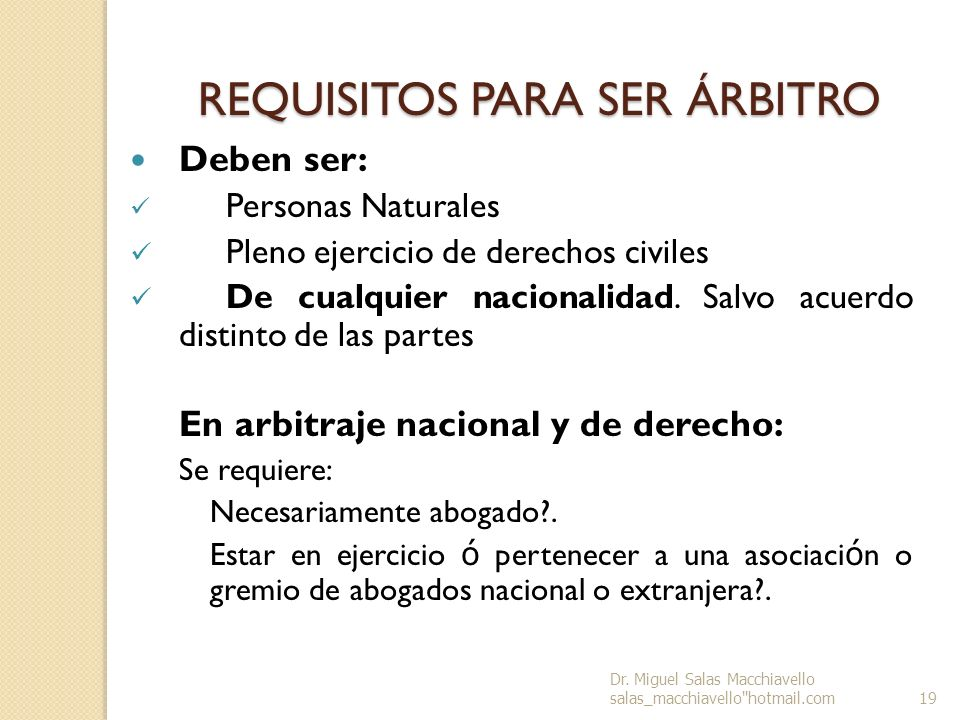 REQUISITOS PARA SER ÁRBITRO