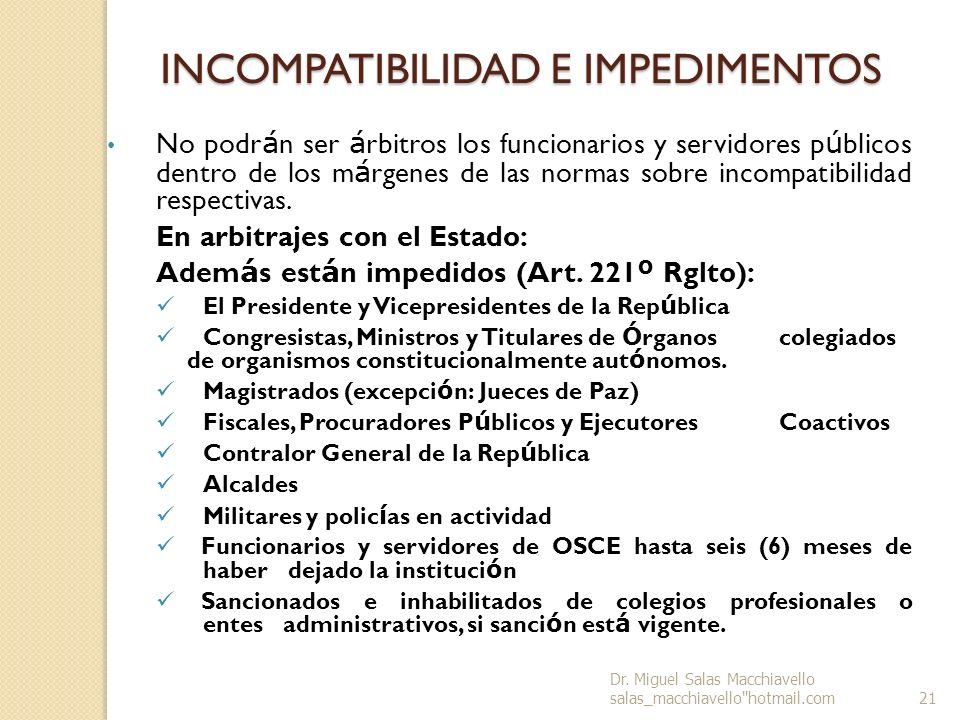 INCOMPATIBILIDAD E IMPEDIMENTOS