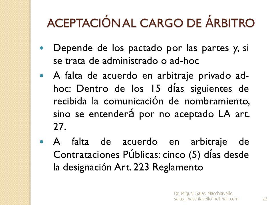 ACEPTACIÓN AL CARGO DE ÁRBITRO