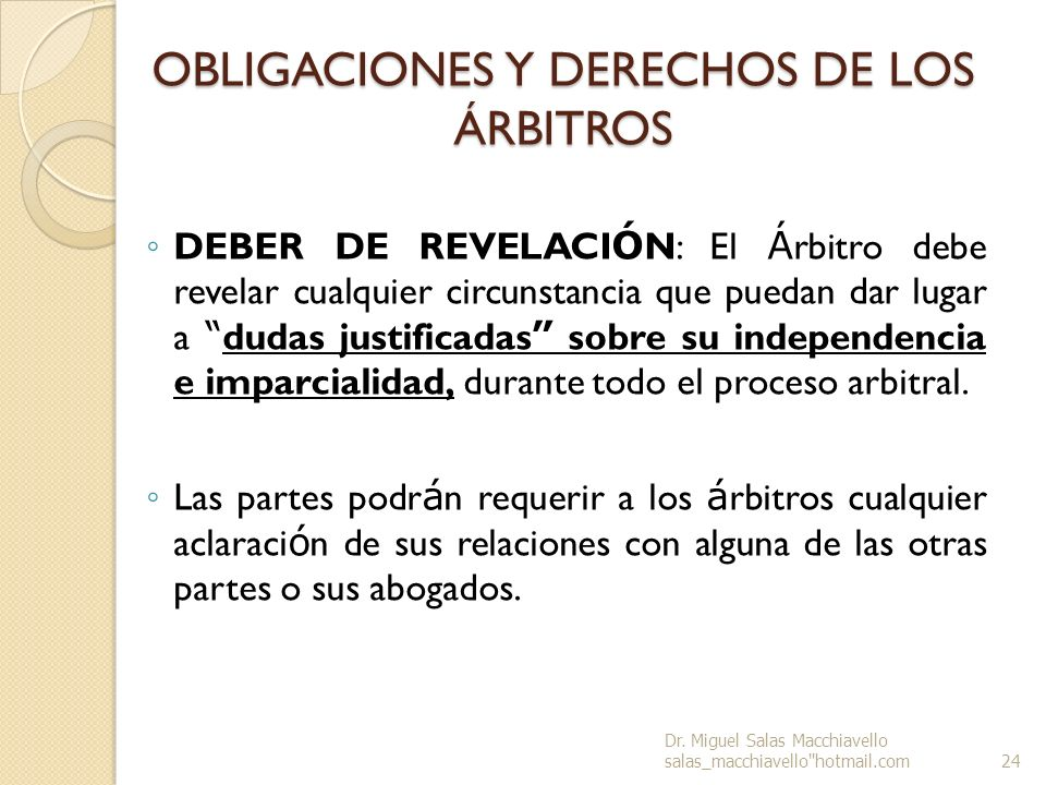 OBLIGACIONES Y DERECHOS DE LOS ÁRBITROS