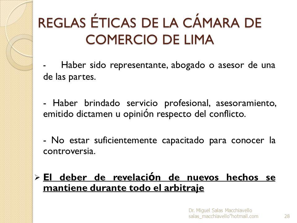 REGLAS ÉTICAS DE LA CÁMARA DE COMERCIO DE LIMA