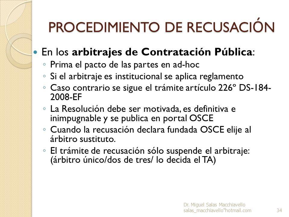 PROCEDIMIENTO DE RECUSACIÓN