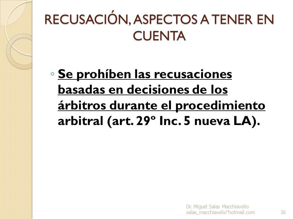 RECUSACIÓN, ASPECTOS A TENER EN CUENTA