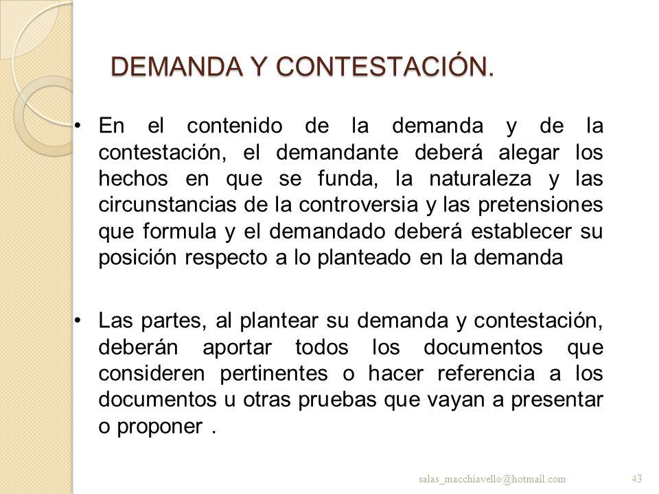 DEMANDA Y CONTESTACIÓN.