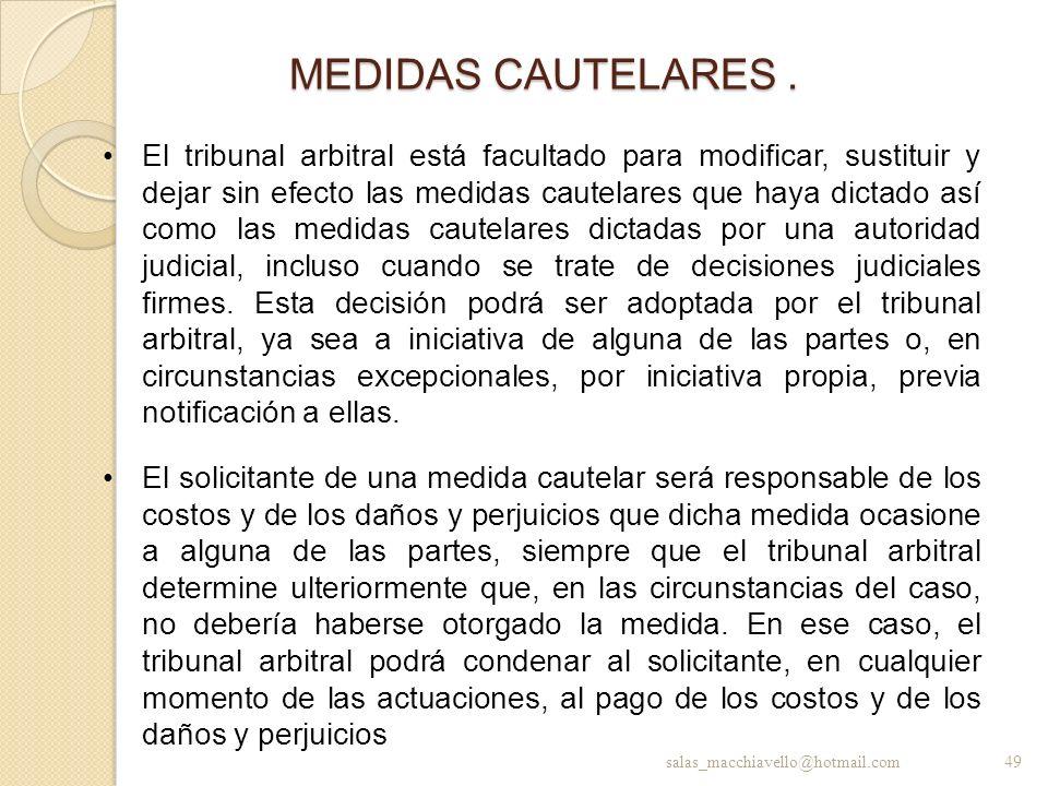 MEDIDAS CAUTELARES .