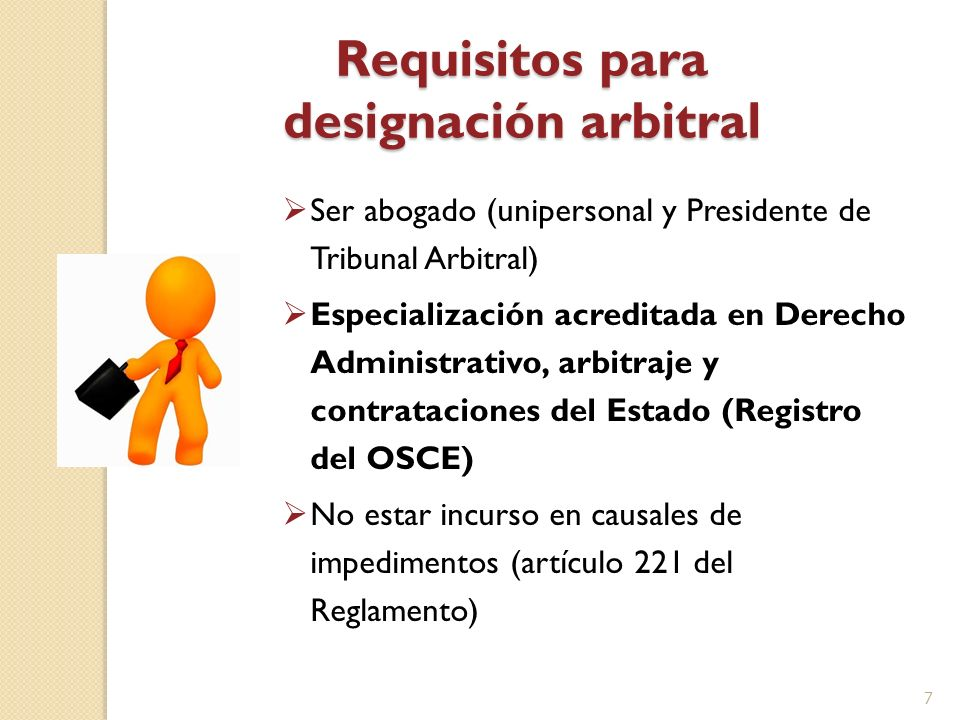 Requisitos para designación arbitral