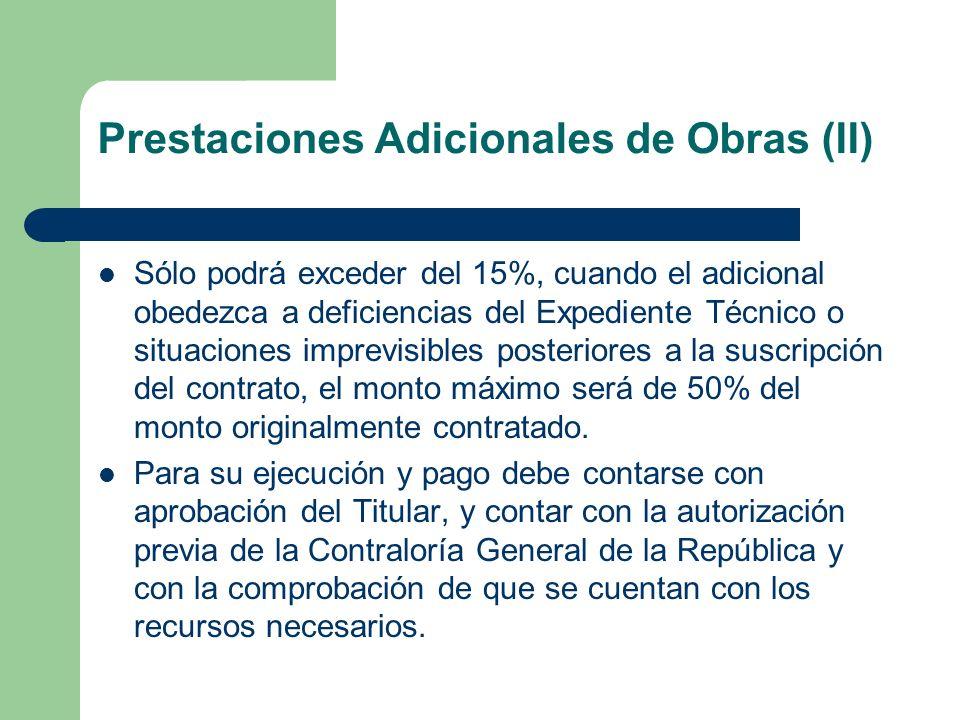 Prestaciones Adicionales de Obras (II)