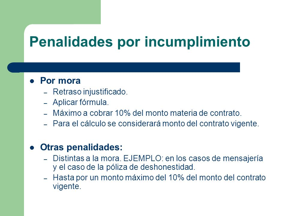 Penalidades por incumplimiento