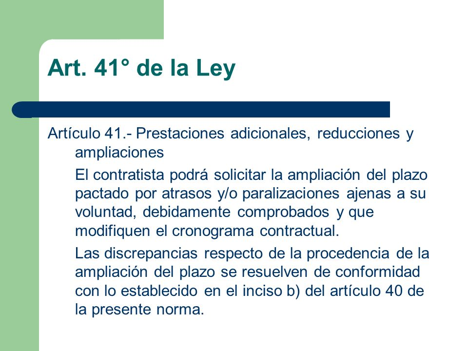 Art. 41° de la Ley