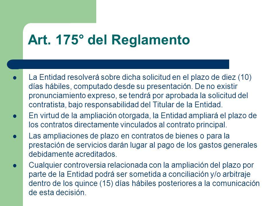 Art. 175° del Reglamento