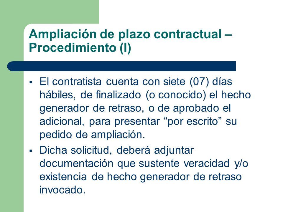 Ampliación de plazo contractual – Procedimiento (I)
