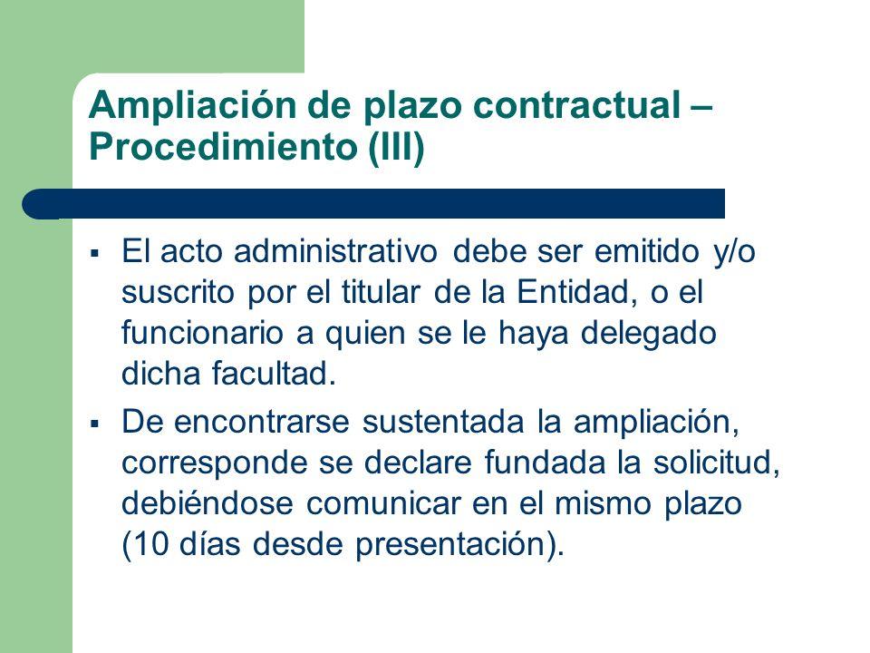 Ampliación de plazo contractual – Procedimiento (III)