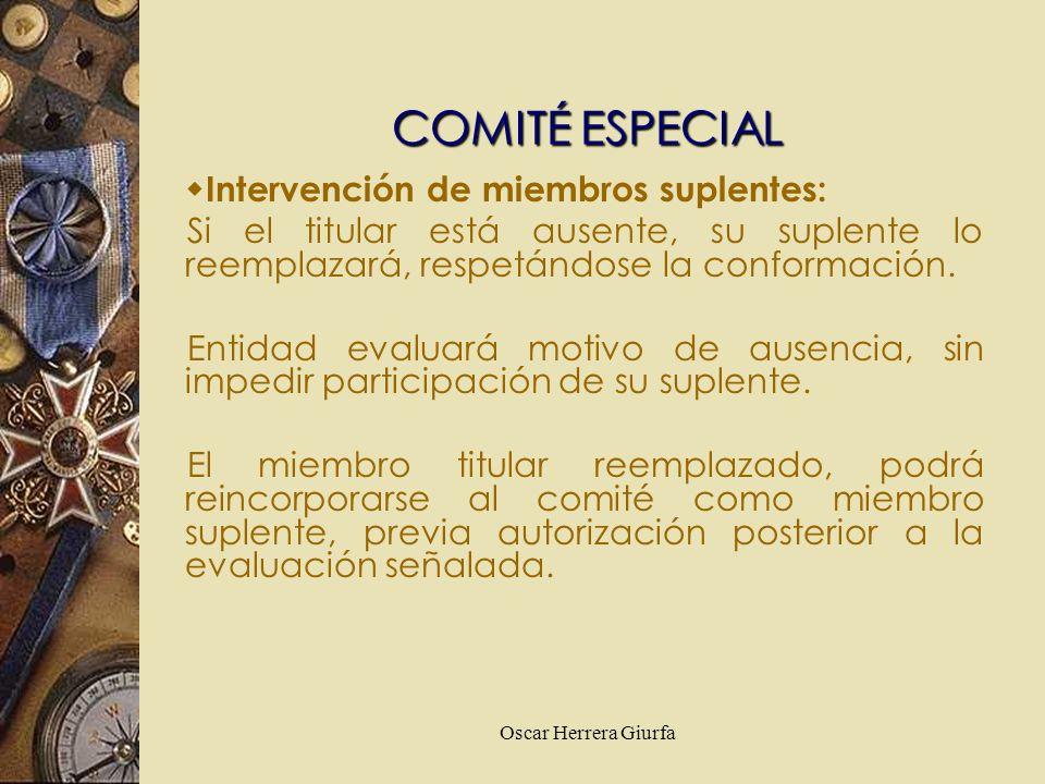 COMITÉ ESPECIAL Intervención de miembros suplentes:
