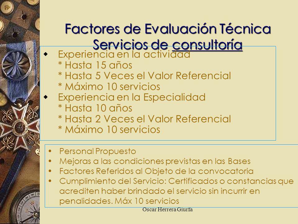 Factores de Evaluación Técnica Servicios de consultoría