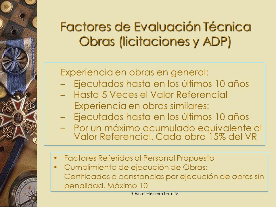 Factores de Evaluación Técnica Obras (licitaciones y ADP)
