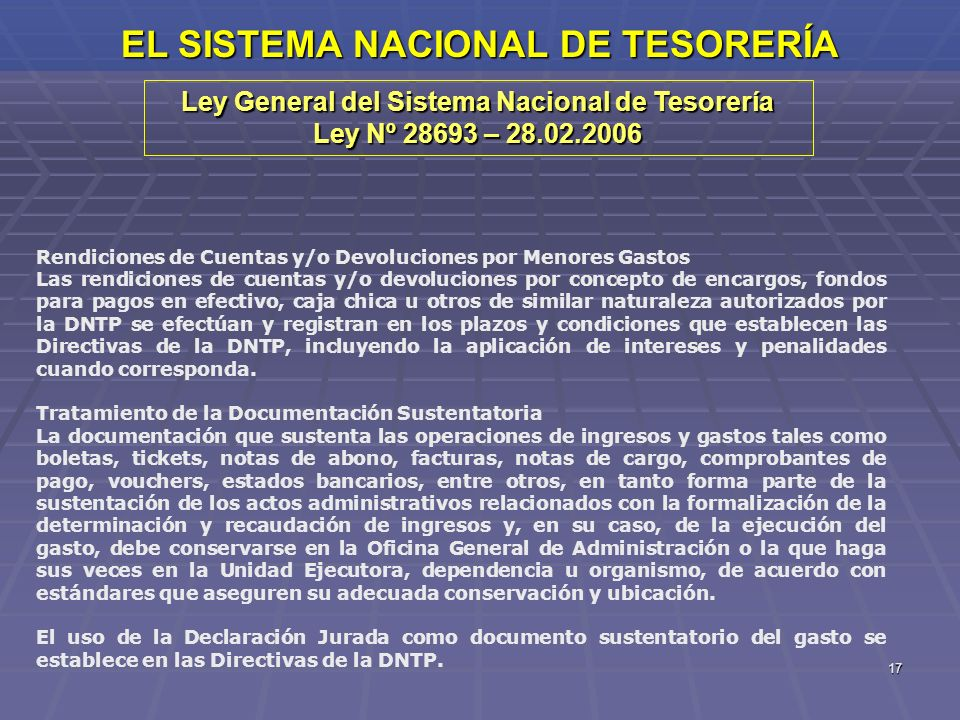 EL SISTEMA NACIONAL DE TESORERÍA