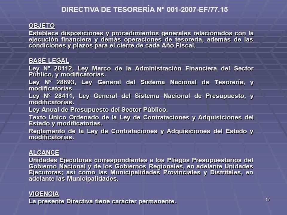DIRECTIVA DE TESORERÍA N° 001-2007-EF/77.15