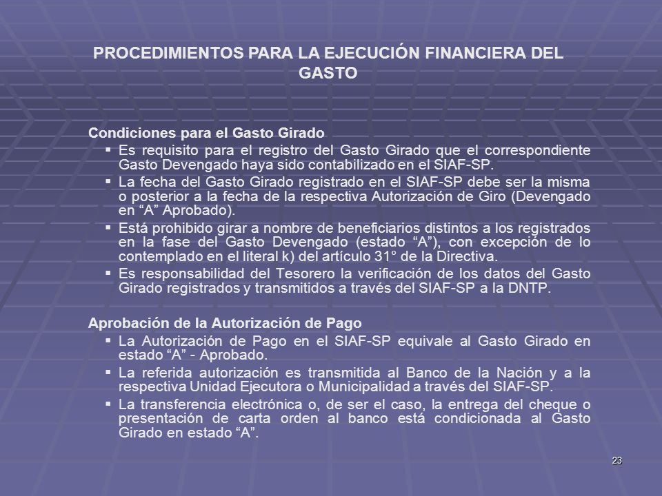 PROCEDIMIENTOS PARA LA EJECUCIÓN FINANCIERA DEL GASTO