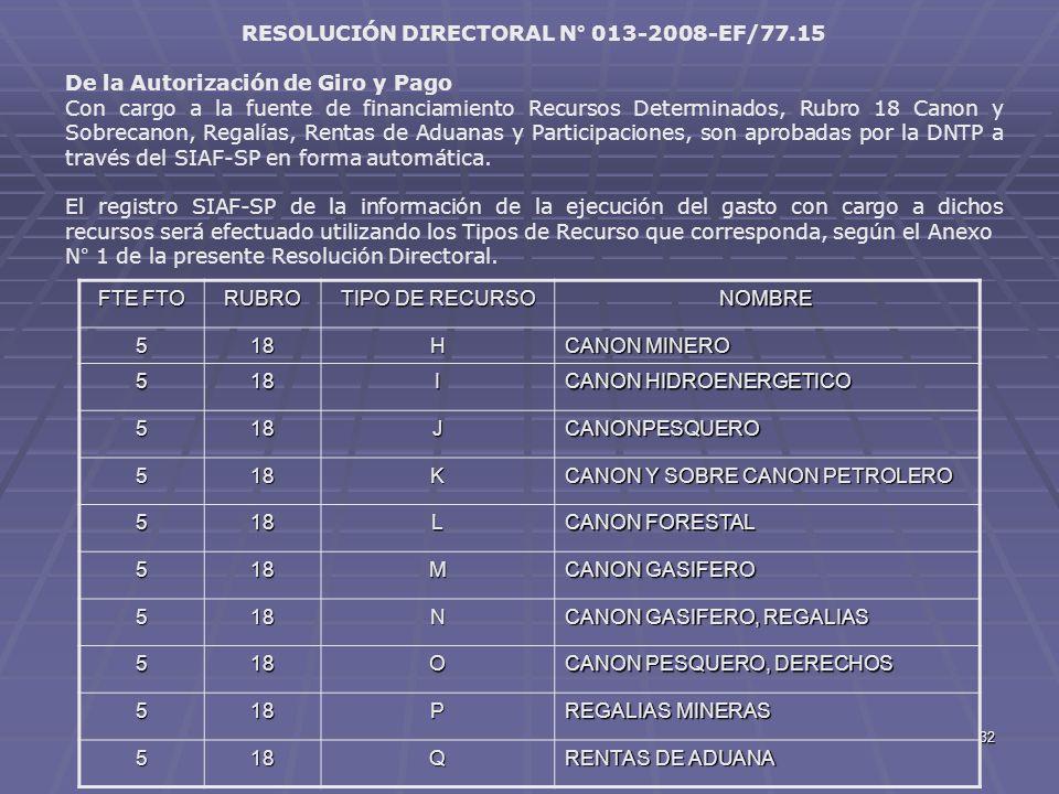 RESOLUCIÓN DIRECTORAL N° 013-2008-EF/77.15