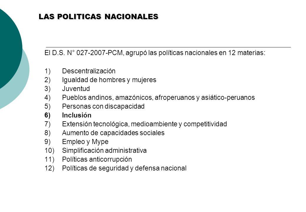 LAS POLITICAS NACIONALES