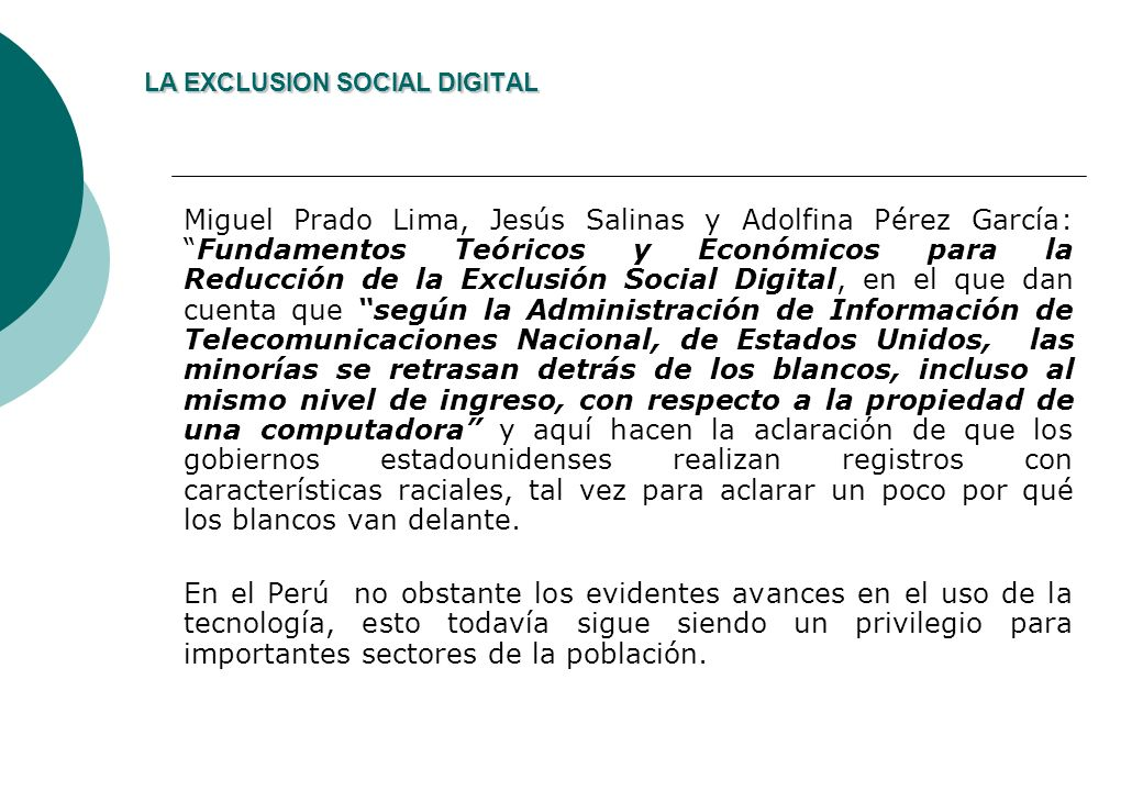 LA EXCLUSION SOCIAL DIGITAL