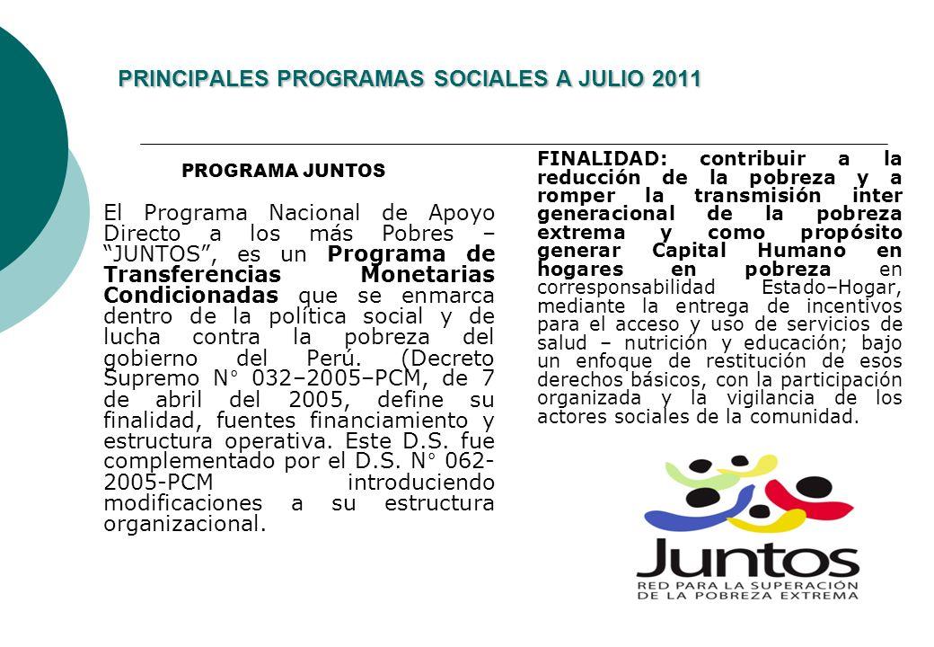 PRINCIPALES PROGRAMAS SOCIALES A JULIO 2011
