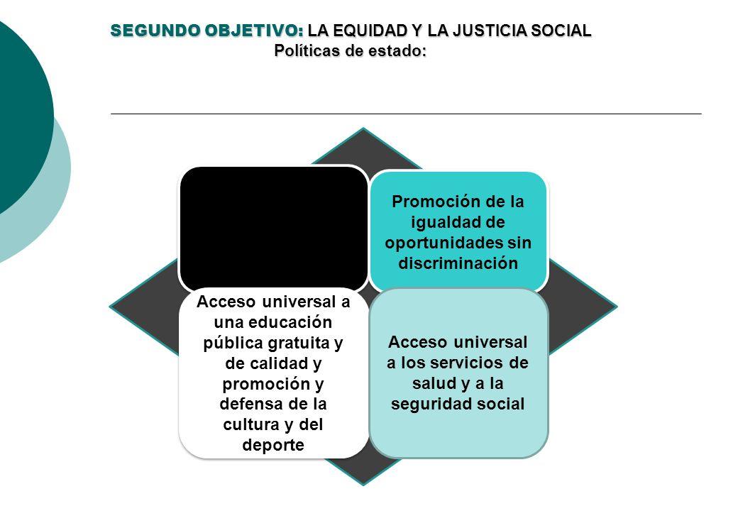 SEGUNDO OBJETIVO: LA EQUIDAD Y LA JUSTICIA SOCIAL Políticas de estado: