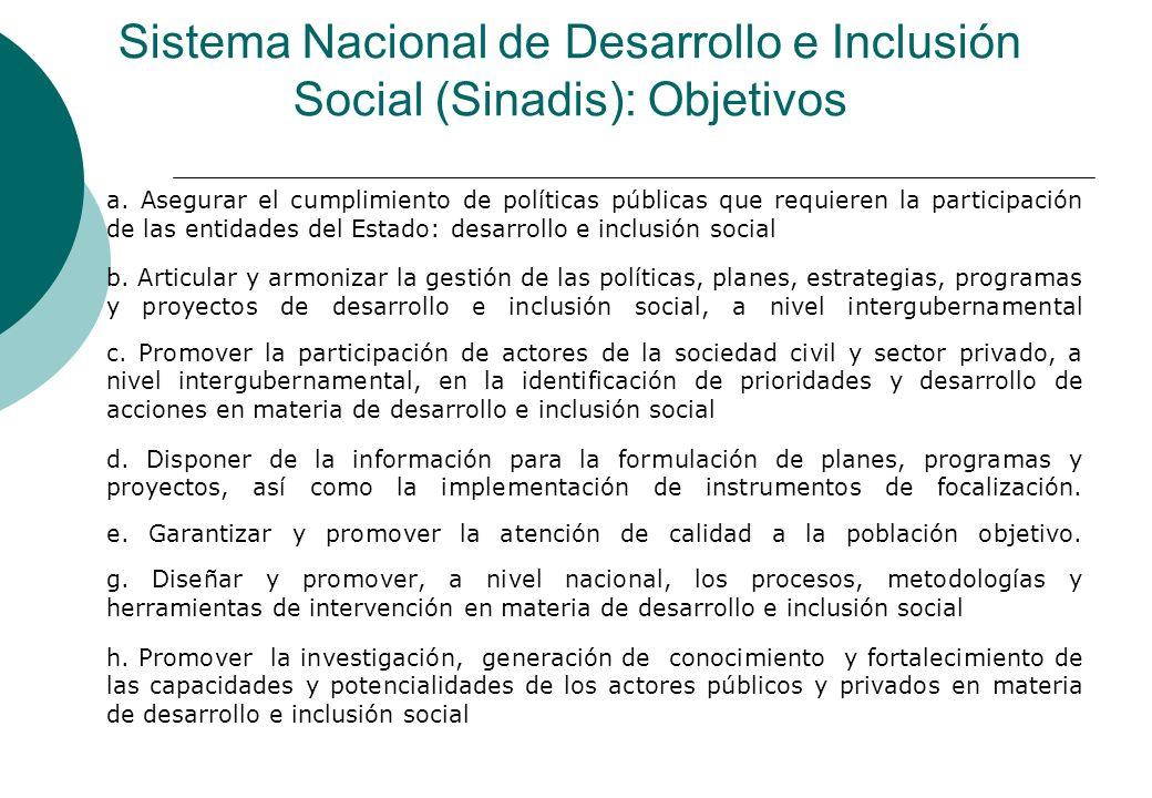 Sistema Nacional de Desarrollo e Inclusión Social (Sinadis): Objetivos
